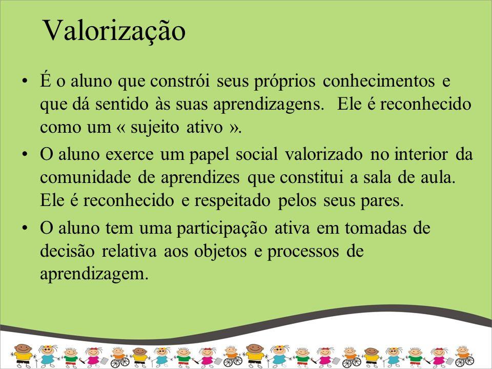 Valorização É o aluno que constrói seus próprios conhecimentos e que dá sentido às suas aprendizagens. Ele é reconhecido como um « sujeito ativo ».