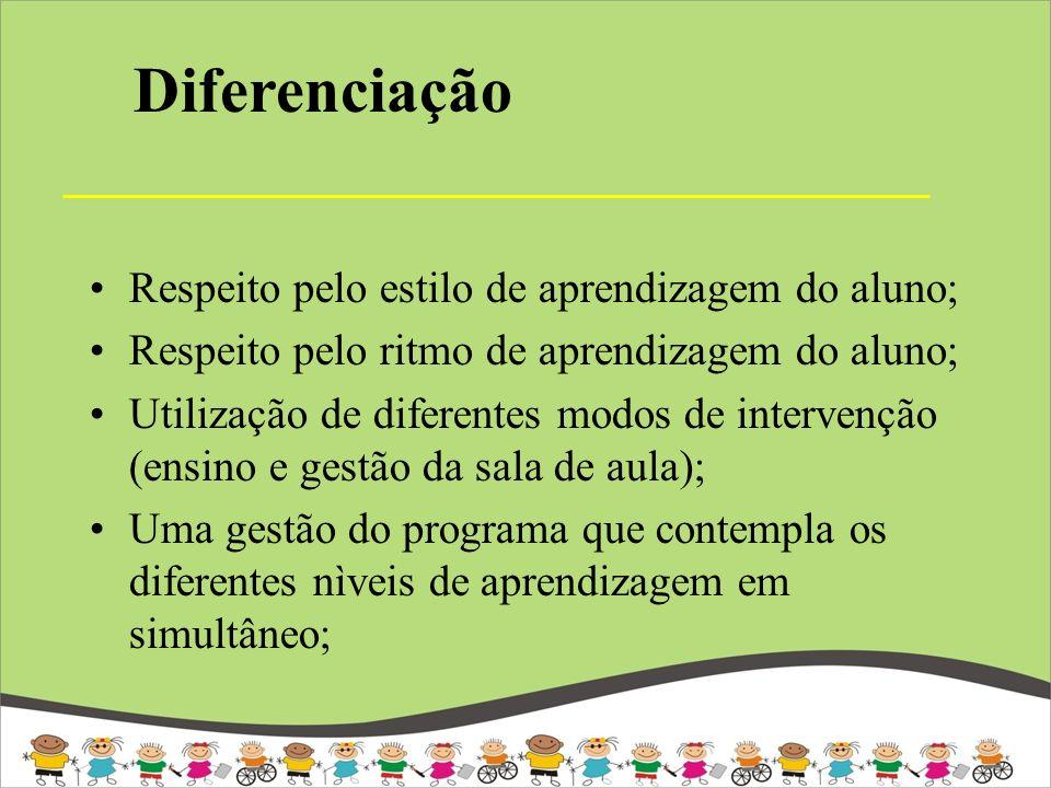 Diferenciação Respeito pelo estilo de aprendizagem do aluno;