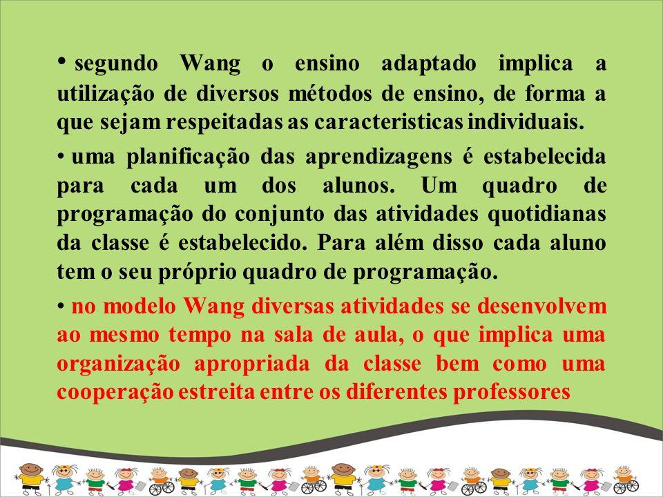 segundo Wang o ensino adaptado implica a utilização de diversos métodos de ensino, de forma a que sejam respeitadas as caracteristicas individuais.