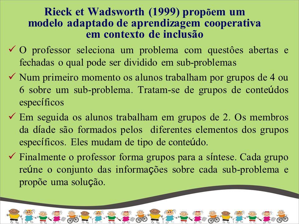 Rieck et Wadsworth (1999) propõem um modelo adaptado de aprendizagem cooperativa em contexto de inclusão