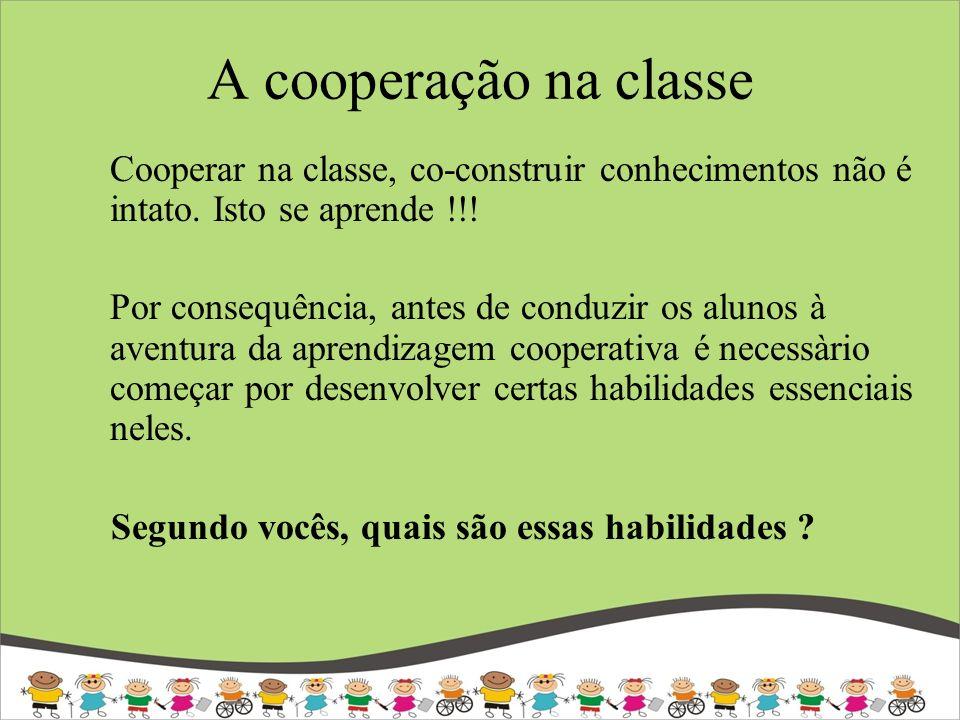 A cooperação na classe Cooperar na classe, co-construir conhecimentos não é intato. Isto se aprende !!!