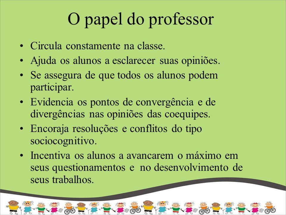 O papel do professor Circula constamente na classe.