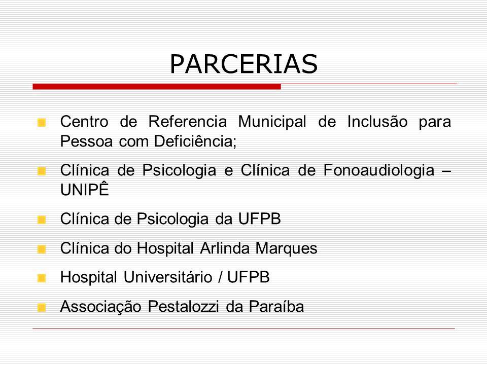 PARCERIAS Centro de Referencia Municipal de Inclusão para Pessoa com Deficiência; Clínica de Psicologia e Clínica de Fonoaudiologia – UNIPÊ.