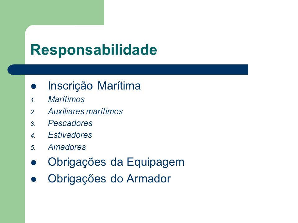 Responsabilidade Inscrição Marítima Obrigações da Equipagem