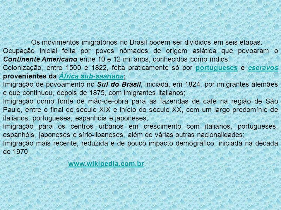 Os movimentos imigratórios no Brasil podem ser divididos em seis etapas: