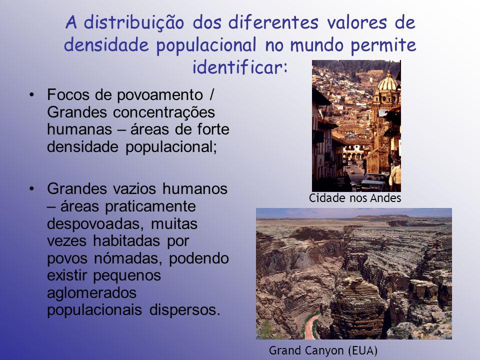A distribuição dos diferentes valores de densidade populacional no mundo permite identificar: