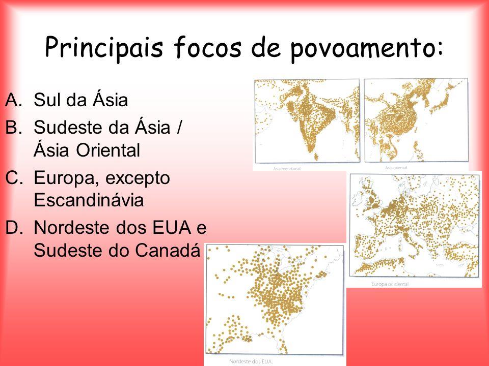 Principais focos de povoamento: