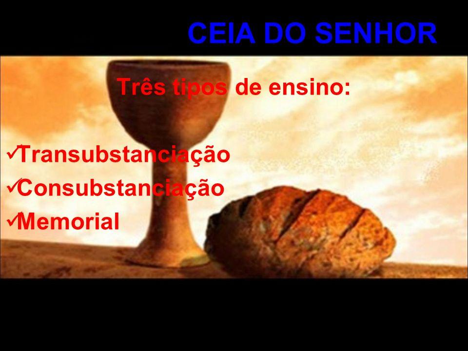 Três tipos de ensino: Transubstanciação Consubstanciação Memorial