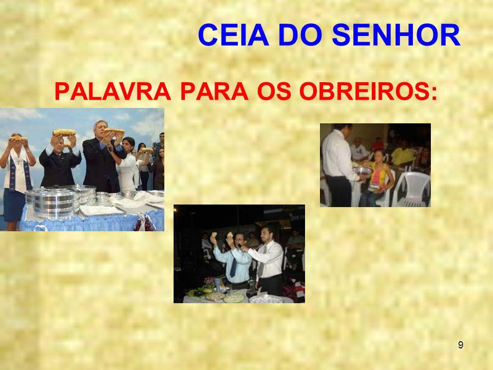 PALAVRA PARA OS OBREIROS: