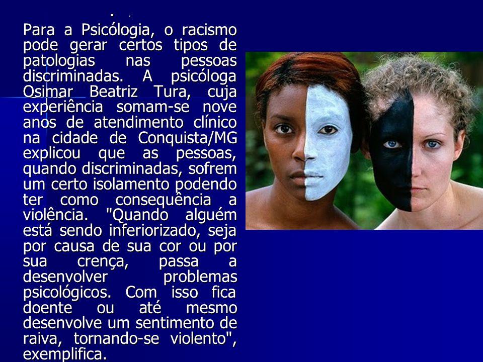 Para a Psicólogia, o racismo pode gerar certos tipos de patologias nas pessoas discriminadas.