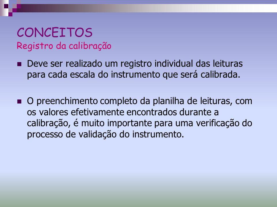 CONCEITOS Registro da calibração