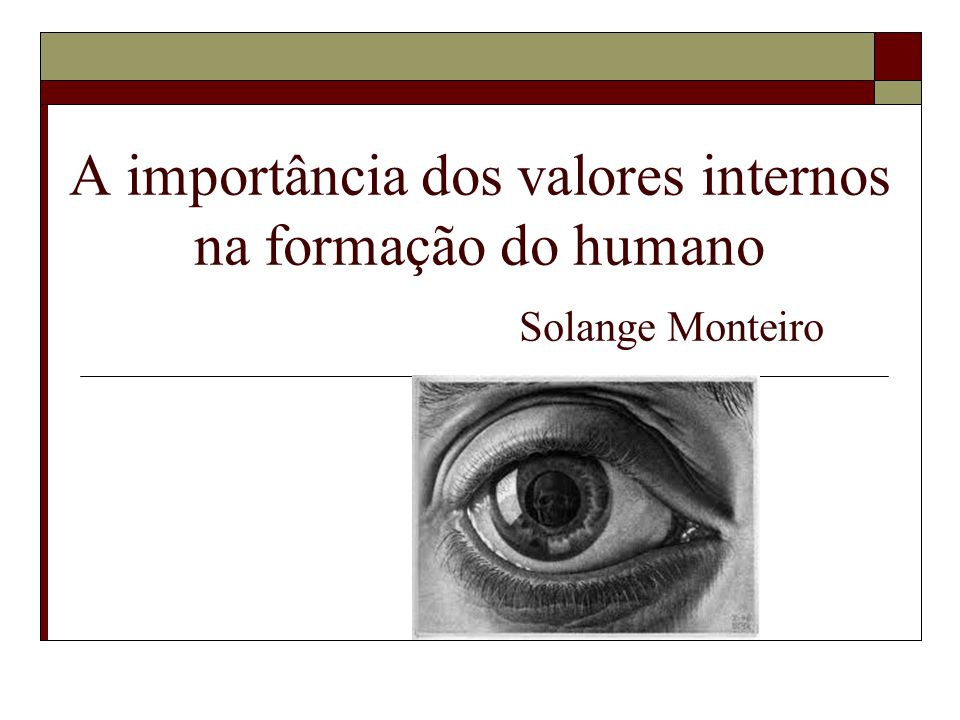 A importância dos valores internos na formação do humano Solange Monteiro
