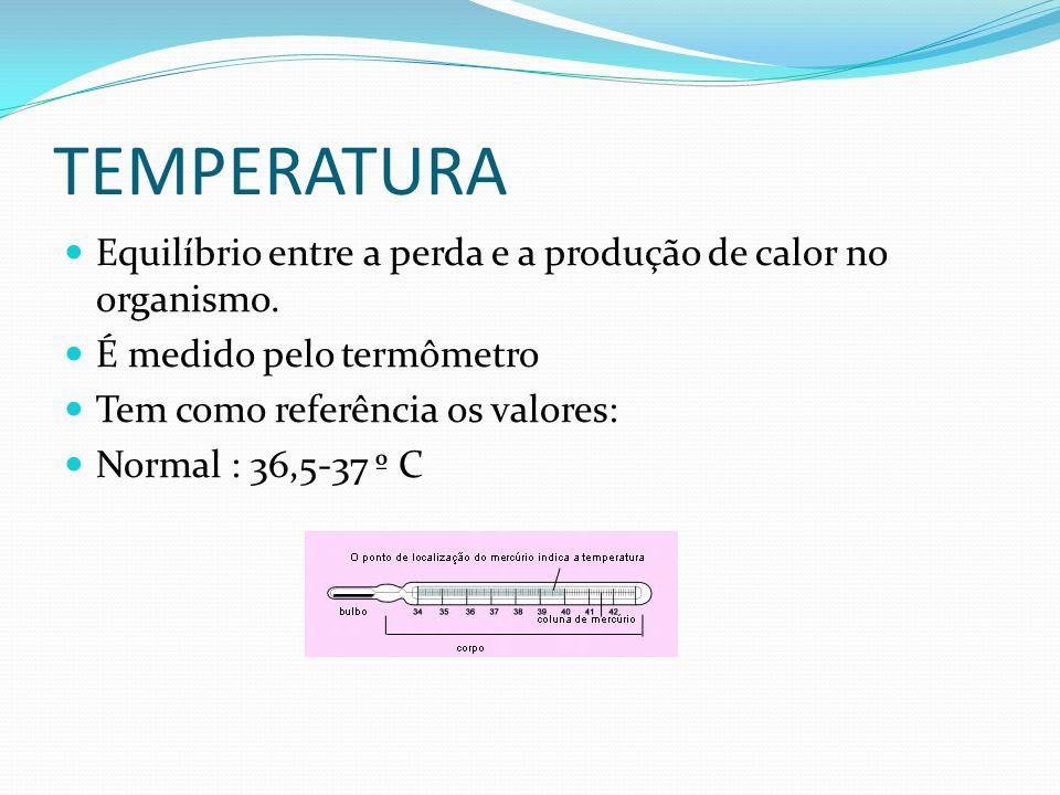 TEMPERATURA Equilíbrio entre a perda e a produção de calor no organismo. É medido pelo termômetro.