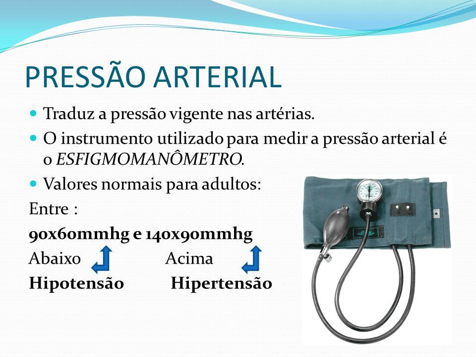 PRESSÃO ARTERIAL Traduz a pressão vigente nas artérias.