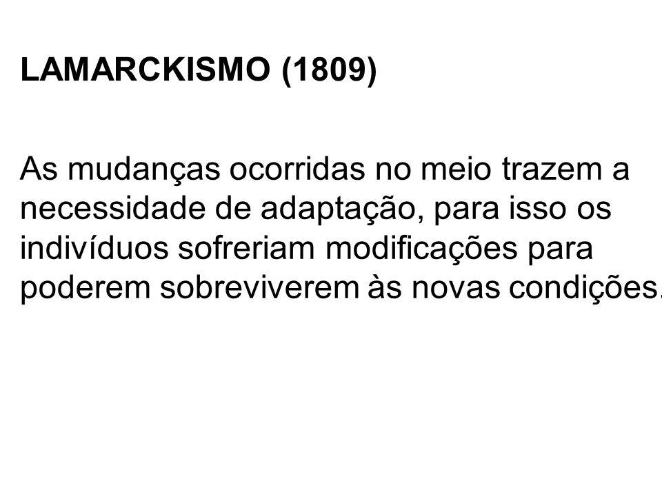 LAMARCKISMO (1809) As mudanças ocorridas no meio trazem a. necessidade de adaptação, para isso os.