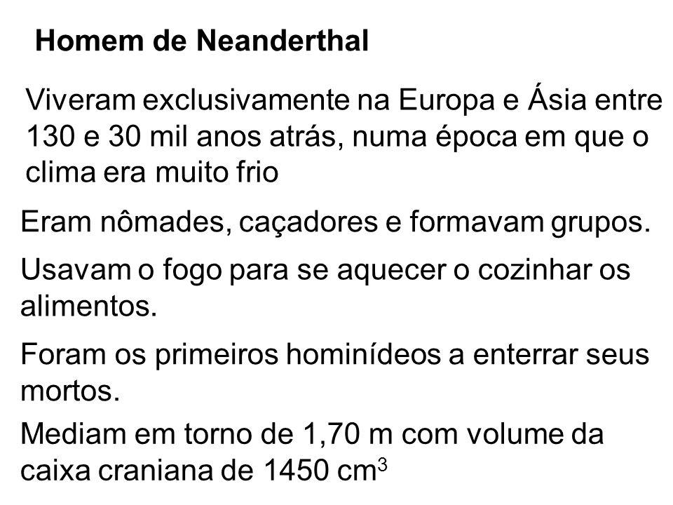 Homem de Neanderthal Viveram exclusivamente na Europa e Ásia entre. 130 e 30 mil anos atrás, numa época em que o.
