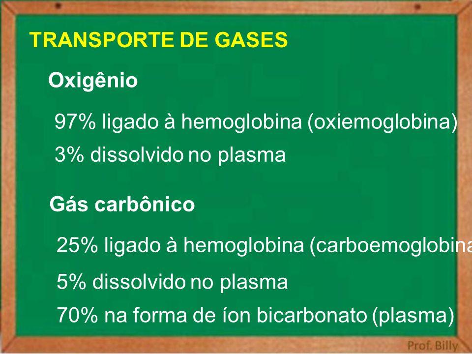 TRANSPORTE DE GASES Oxigênio. 97% ligado à hemoglobina (oxiemoglobina) 3% dissolvido no plasma. Gás carbônico.