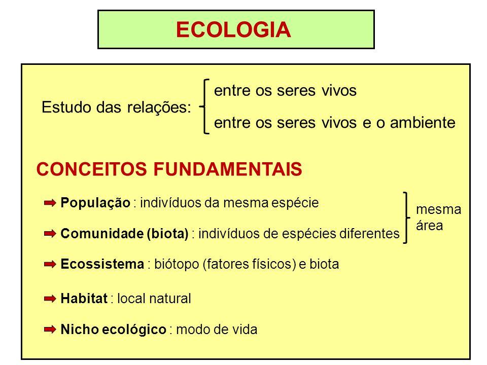 ECOLOGIA CONCEITOS FUNDAMENTAIS entre os seres vivos