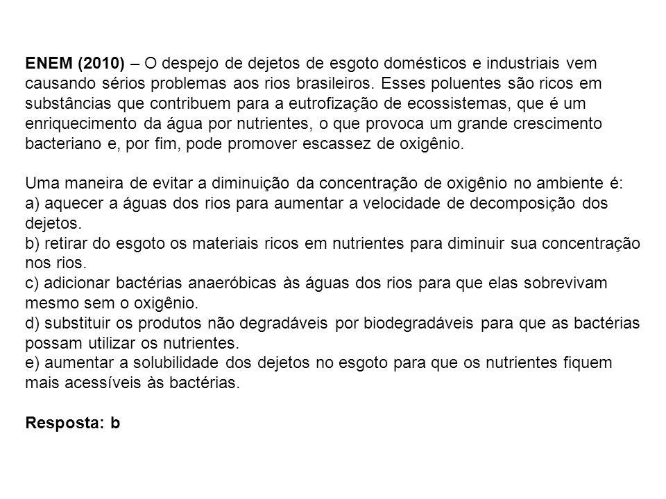 ENEM (2010) – O despejo de dejetos de esgoto domésticos e industriais vem causando sérios problemas aos rios brasileiros. Esses poluentes são ricos em substâncias que contribuem para a eutrofização de ecossistemas, que é um enriquecimento da água por nutrientes, o que provoca um grande crescimento bacteriano e, por fim, pode promover escassez de oxigênio.