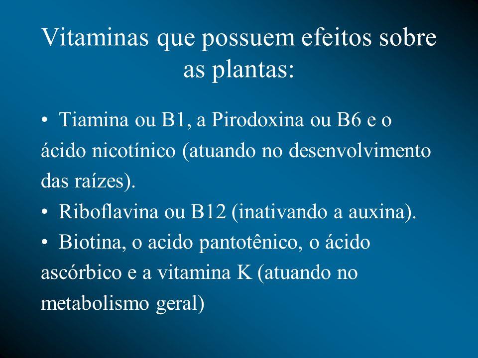 Vitaminas que possuem efeitos sobre as plantas: