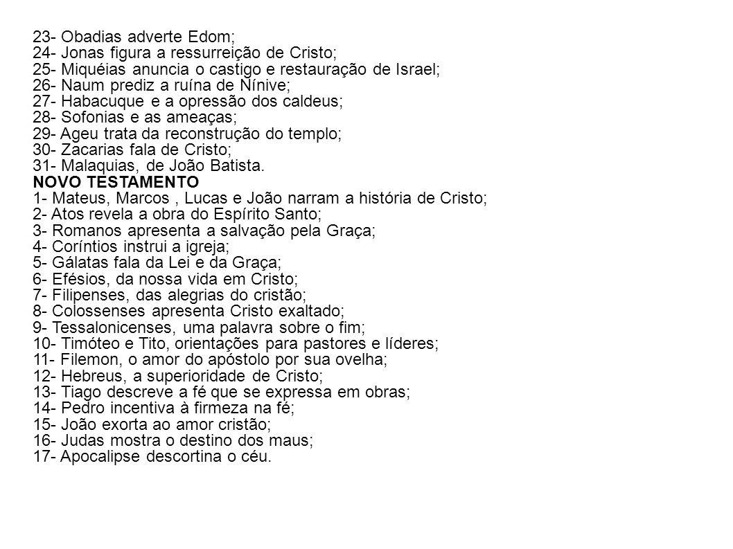 23- Obadias adverte Edom;