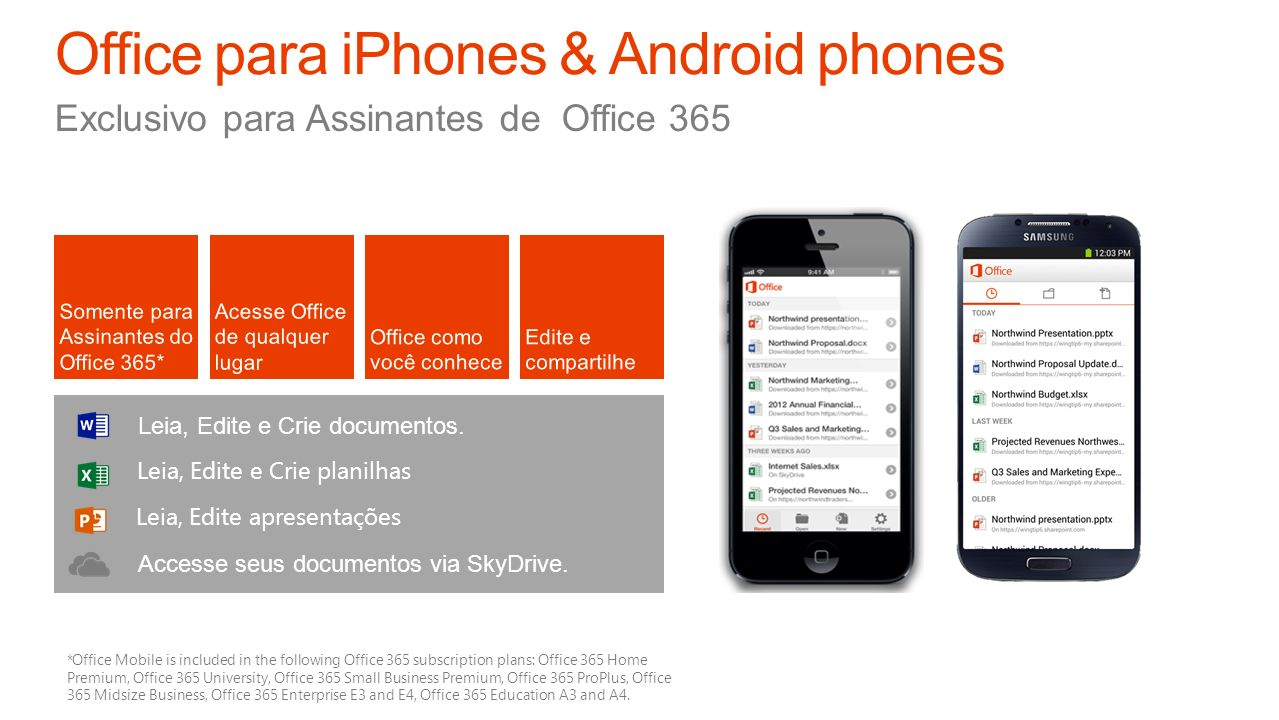 Office para iPhones & Android phones