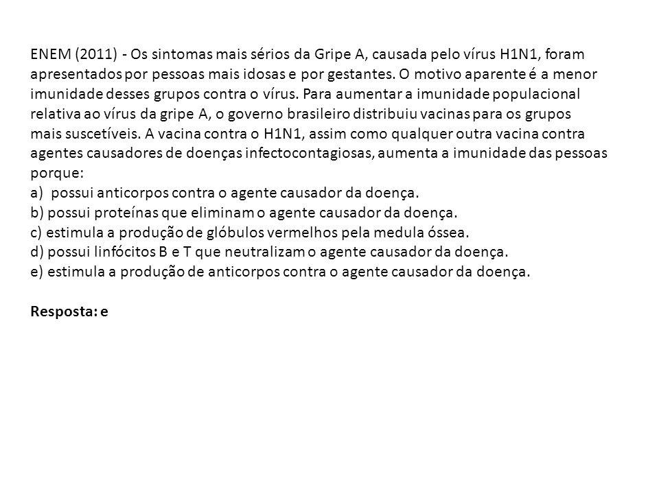 ENEM (2011) - Os sintomas mais sérios da Gripe A, causada pelo vírus H1N1, foram apresentados por pessoas mais idosas e por gestantes. O motivo aparente é a menor