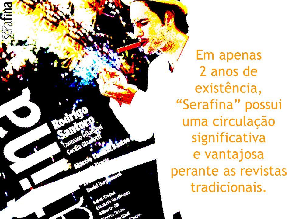 Em apenas 2 anos de existência, Serafina possui uma circulação significativa e vantajosa perante as revistas tradicionais.