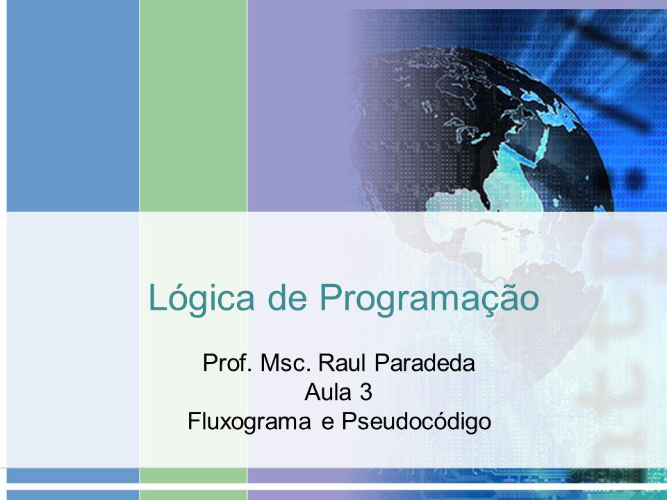 Prof. Msc. Raul Paradeda Aula 3 Fluxograma e Pseudocódigo
