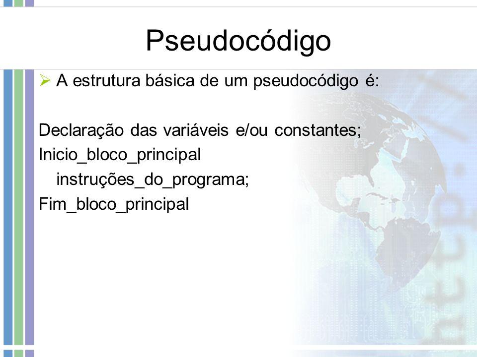 Pseudocódigo A estrutura básica de um pseudocódigo é: