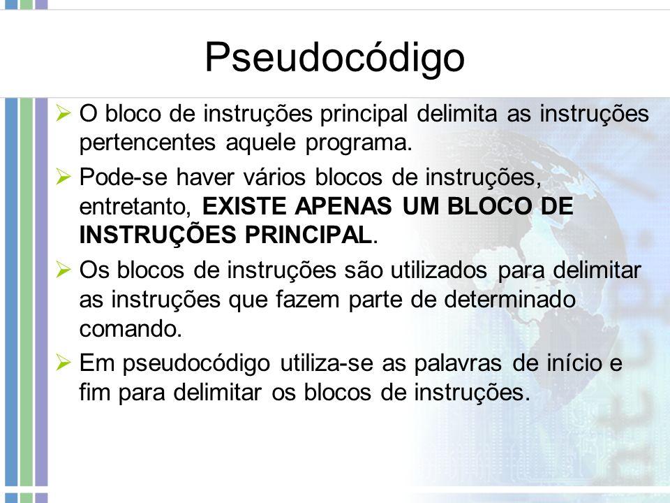 Pseudocódigo O bloco de instruções principal delimita as instruções pertencentes aquele programa.