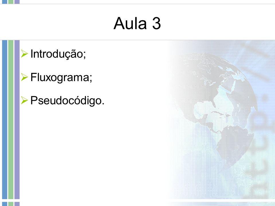 Aula 3 Introdução; Fluxograma; Pseudocódigo.