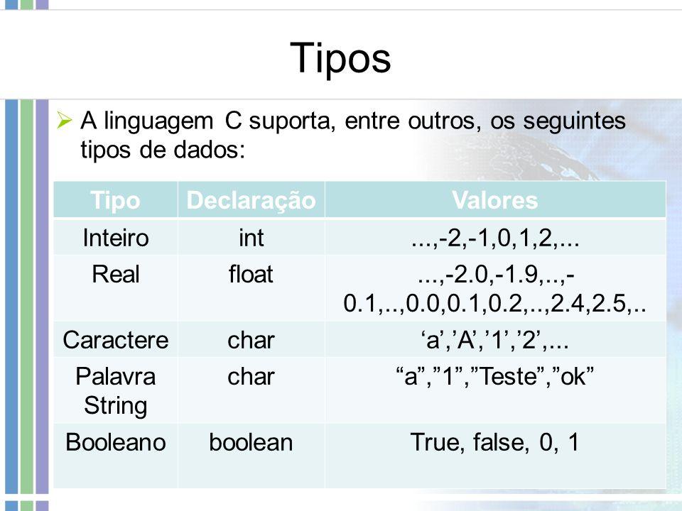 Tipos A linguagem C suporta, entre outros, os seguintes tipos de dados: Tipo. Declaração. Valores.
