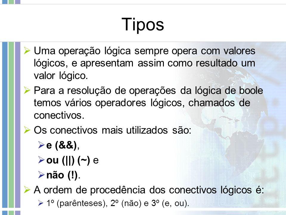 Tipos Uma operação lógica sempre opera com valores lógicos, e apresentam assim como resultado um valor lógico.