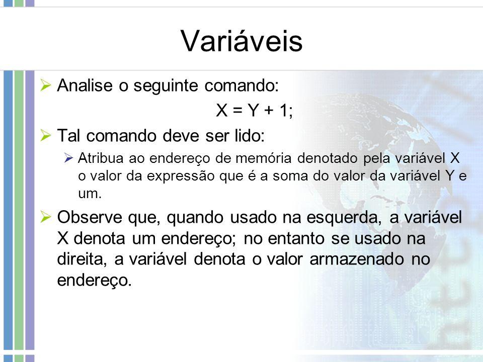 Variáveis Analise o seguinte comando: X = Y + 1;