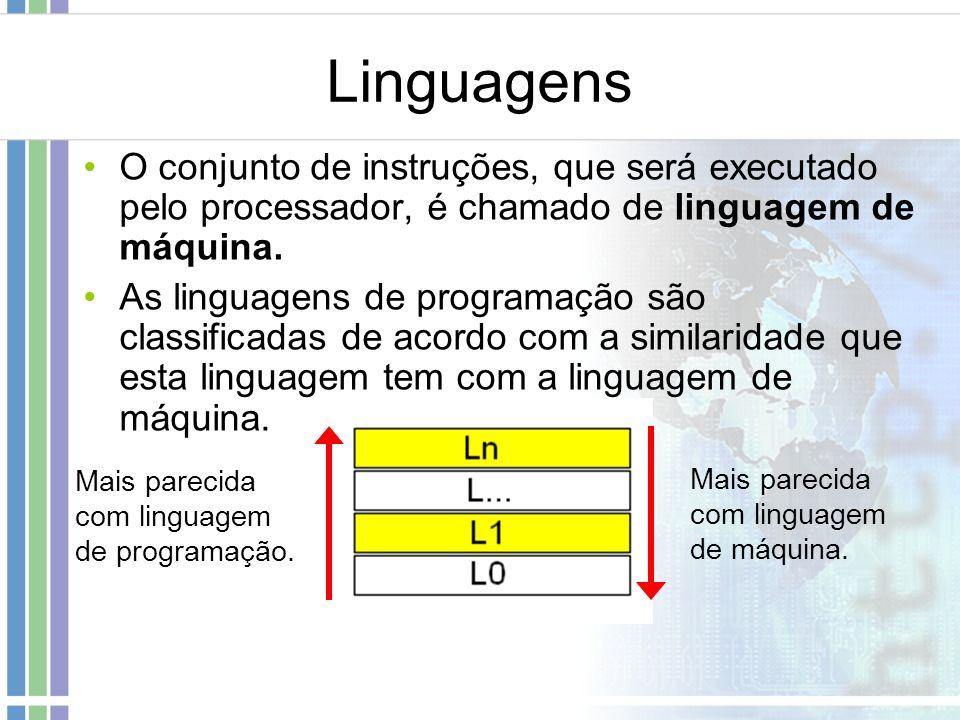 Linguagens O conjunto de instruções, que será executado pelo processador, é chamado de linguagem de máquina.