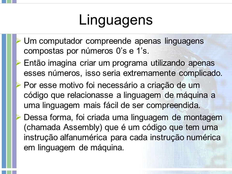 Linguagens Um computador compreende apenas linguagens compostas por números 0's e 1's.