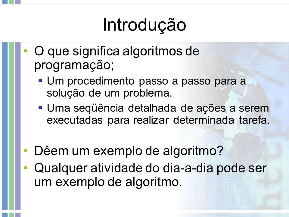 Introdução O que significa algoritmos de programação;