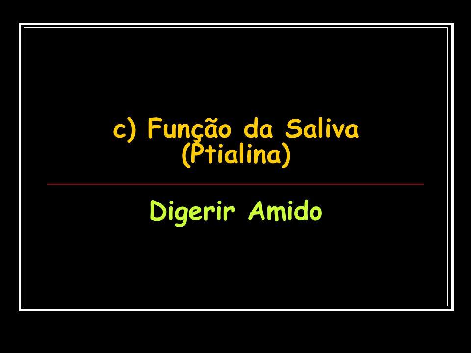 c) Função da Saliva (Ptialina)