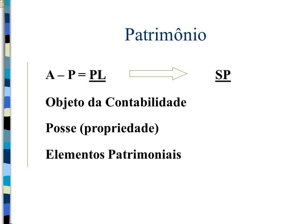 Patrimônio A – P = PL SP Objeto da Contabilidade Posse (propriedade)