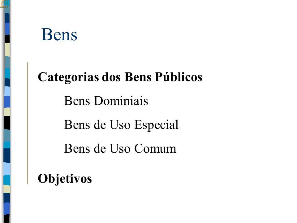 Bens Categorias dos Bens Públicos Bens Dominiais Bens de Uso Especial