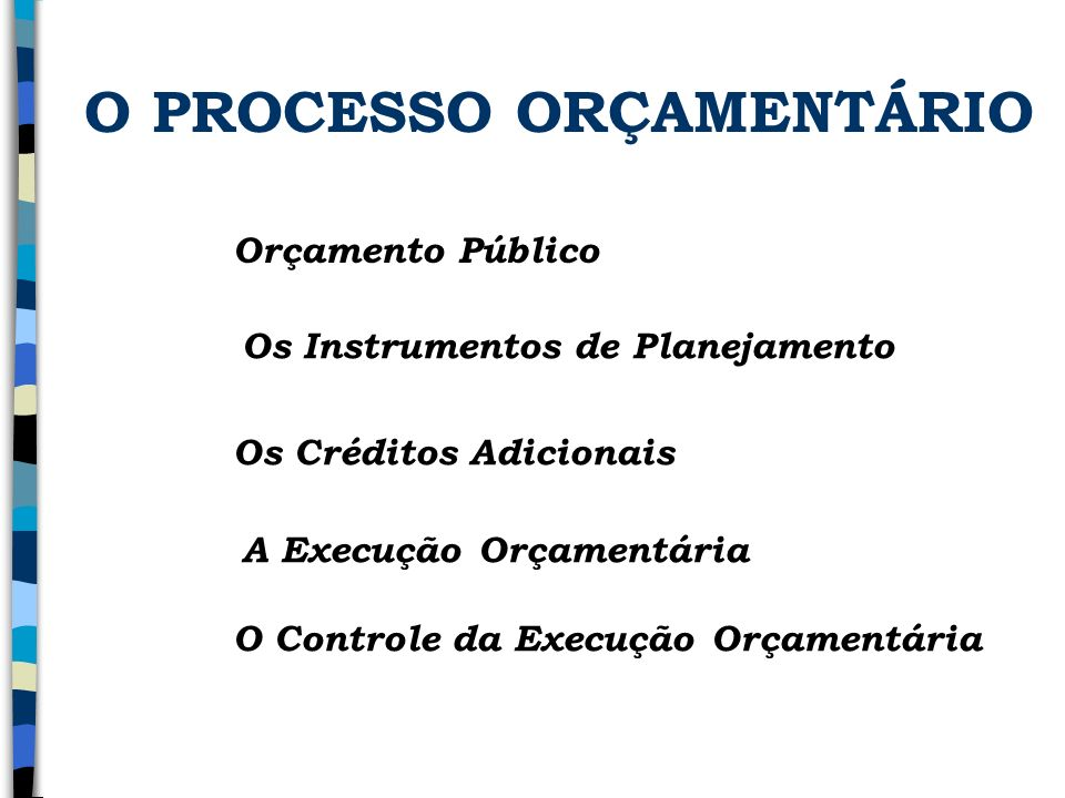 O PROCESSO ORÇAMENTÁRIO