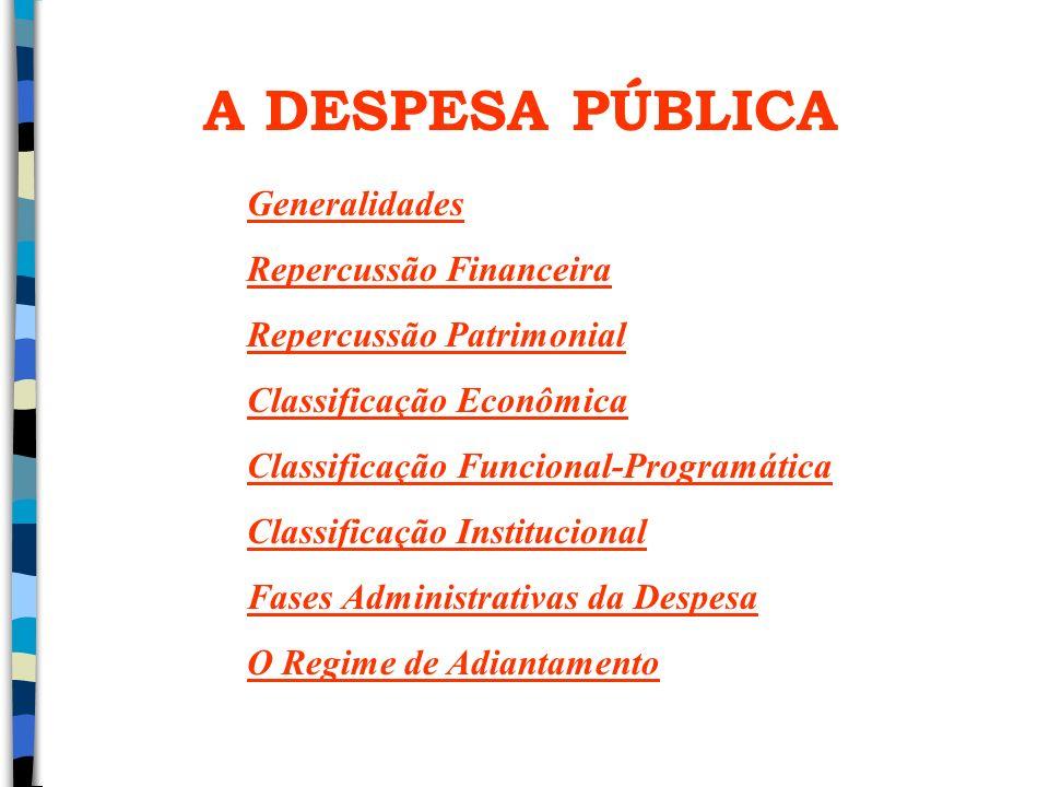 A DESPESA PÚBLICA Generalidades Repercussão Financeira