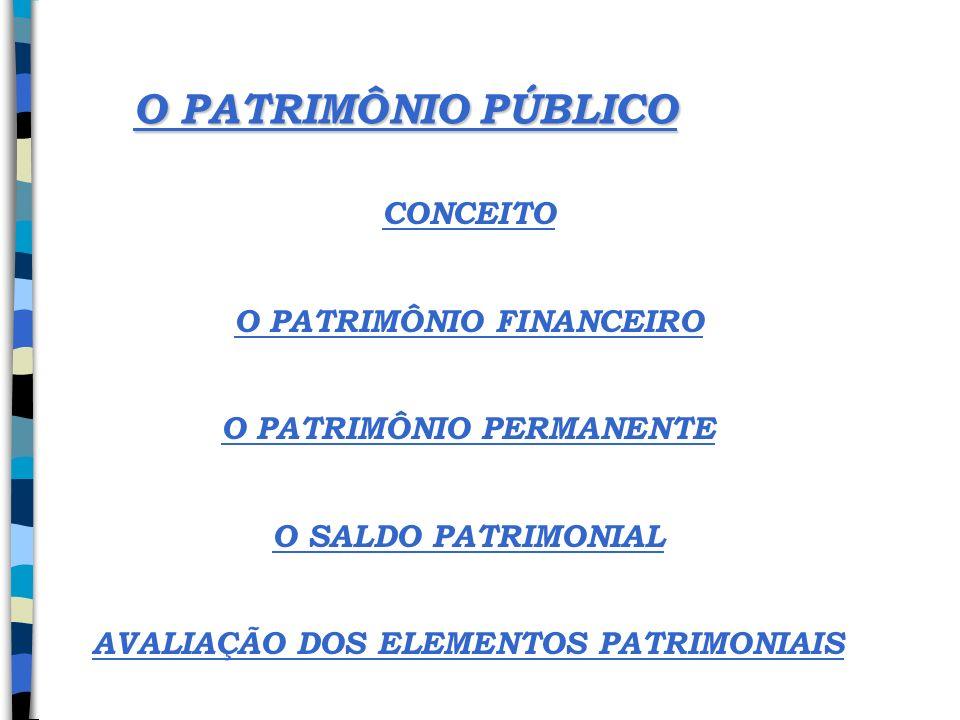 O PATRIMÔNIO PÚBLICO CONCEITO O PATRIMÔNIO FINANCEIRO