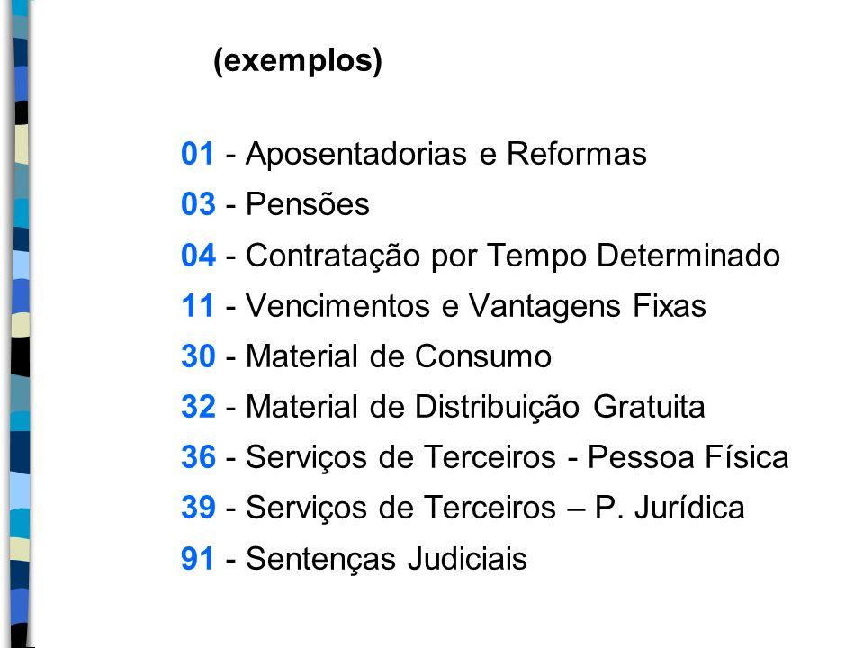 (exemplos) 01 - Aposentadorias e Reformas. 03 - Pensões. 04 - Contratação por Tempo Determinado. 11 - Vencimentos e Vantagens Fixas.