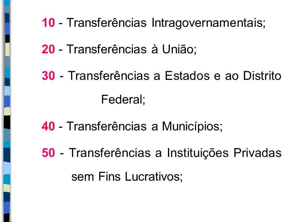 10 - Transferências Intragovernamentais;