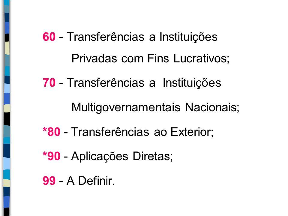 60 - Transferências a Instituições Privadas com Fins Lucrativos;