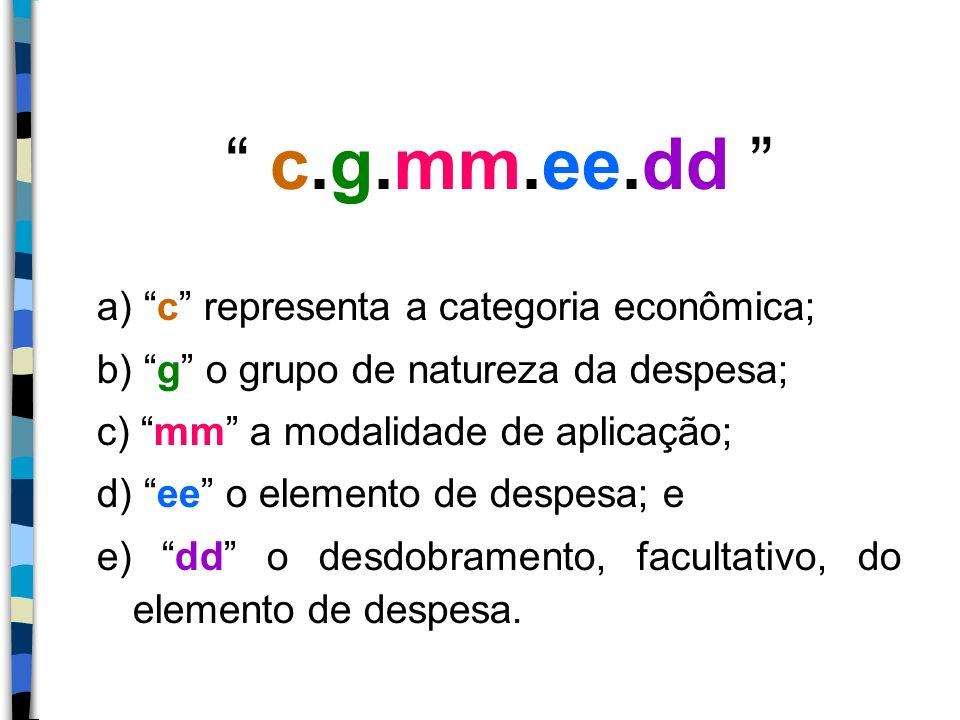c.g.mm.ee.dd a) c representa a categoria econômica;