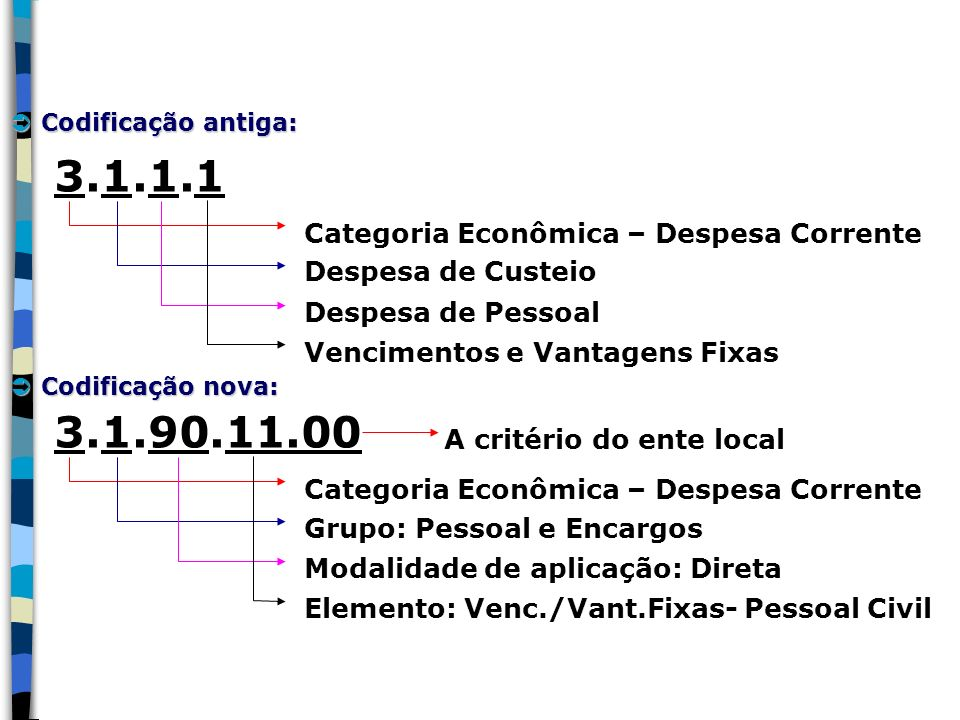 3.1.1.1 3.1.90.11.00 Categoria Econômica – Despesa Corrente