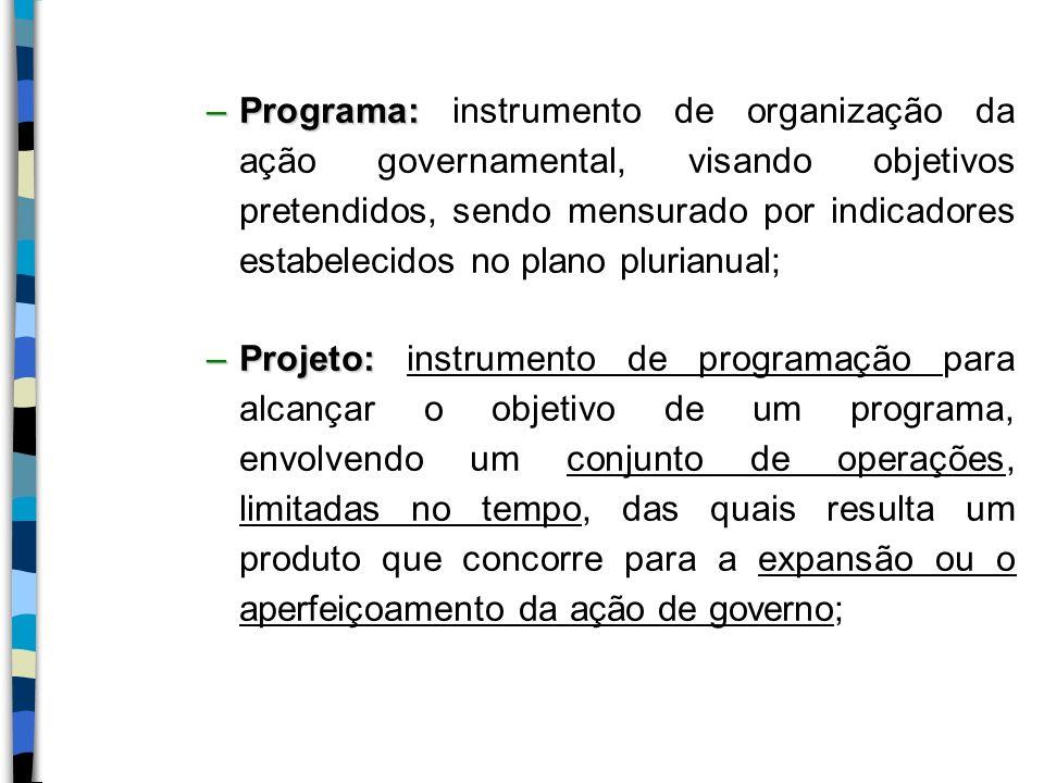 Programa: instrumento de organização da ação governamental, visando objetivos pretendidos, sendo mensurado por indicadores estabelecidos no plano plurianual;